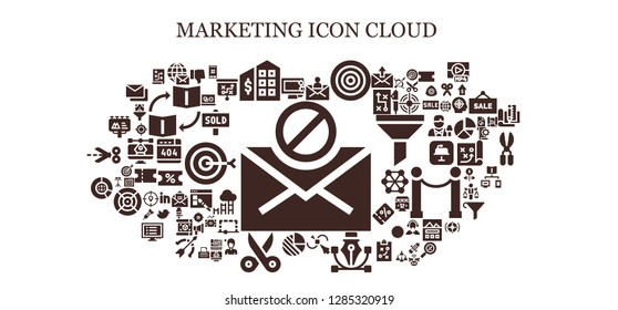 marketing icon set. 93 filled marketing icons. Simple modern icons about  - Mail, Display, Tax office, Dartboard, Vector, Pie chart, Scissors, Big data, Billboard, Dislike, Hashtag