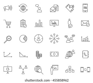 Marketing icon set, outline thin line isolated vector sign symbol,  on white background