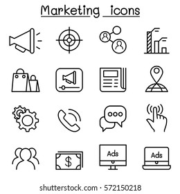 Marketing icon set in thin line style