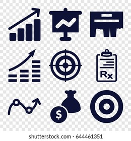 Marketing icons set. set of 9 marketing filled icons such as clipboard, graph, ad, target, money bag, money growth
