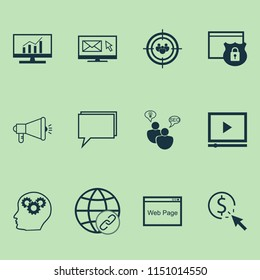Marketing icons set with online consulting, creativity, comprehensive analytics and other media campaign elements. Isolated vector illustration marketing icons.