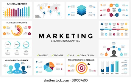 Marketing infographic, cycle diagram, global business graph, presentation chart. 3, 4, 5, 6, 7, 8 option, part, step, process. People infographics report, target market, brain idea, world map timeline