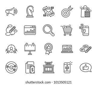 Marketing line icons. Set of Strategy, Feedback and Advertisement campaign signs. Research, Communication and Keywords symbols. Chess Knight, Target and Mail. Quality design elements. Editable stroke