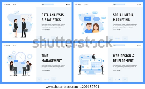 Marketing Management Web Design Data Analysis Stock Vector (Royalty