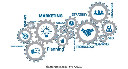 Marketing mechanism concept. Abstract background with connected gears and icons for strategy, service, analytics, research, seo,digital marketing, communicate concepts. Vector infographic illustration