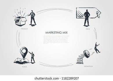 Marketing Mix, price, promotion, place, product vector set