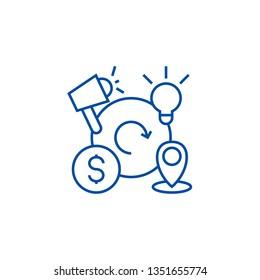 Marketing mix,4p line icon concept. Marketing mix,4p flat  vector symbol, sign, outline illustration.