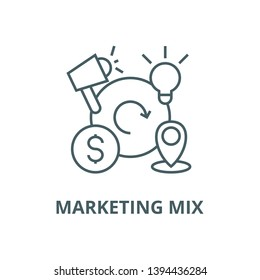 Marketing mix,4p vector line icon, linear concept, outline sign, symbol