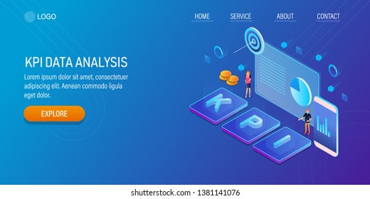 Marketing objective, KPI data analysis, Measure marketing campaign with KPI, flat design 3D, isometric vector vector concept with icons and texts