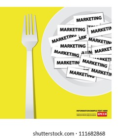 Marketing on dish,Business concept,Vector