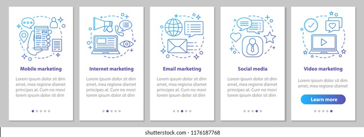 Marketing onboarding mobile app page screen with linear concepts. Social media, mobile, email, internet, video advertising steps. Targeted and contextual advert. UX, UI, GUI vector illustrations