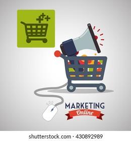 Marketing online design. ecommerce icon. Isolated illustration , vector