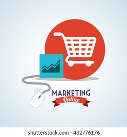 Marketing online design. ecommerce icon. Isolated illustration , vector