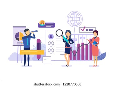 Marketing research, financial analysis, implementation of business strategy, digital marketing in social networks. Search for professional employees, for improve business growth. Vector illustration.