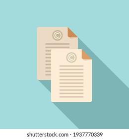 Marketing rights document icon. Flat illustration of Marketing rights document vector icon for web design