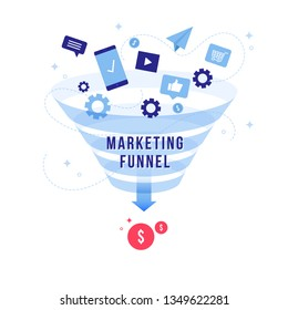Marketing sales funnel, Ideal conversion funnel flat design infographic with texts and icons