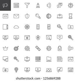 Marketing and SEO outline icons set. linear style symbols collection, line signs pack. vector graphics. Set includes icons as Blogging, Funnel, Startup, Phone call, Coding, Mail, Search engine, Server