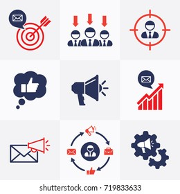 Marketing Set Flat Icons Vector Signs. Marketing Strategy, Team, Target, Marketing Campaign Symbol Silhouette