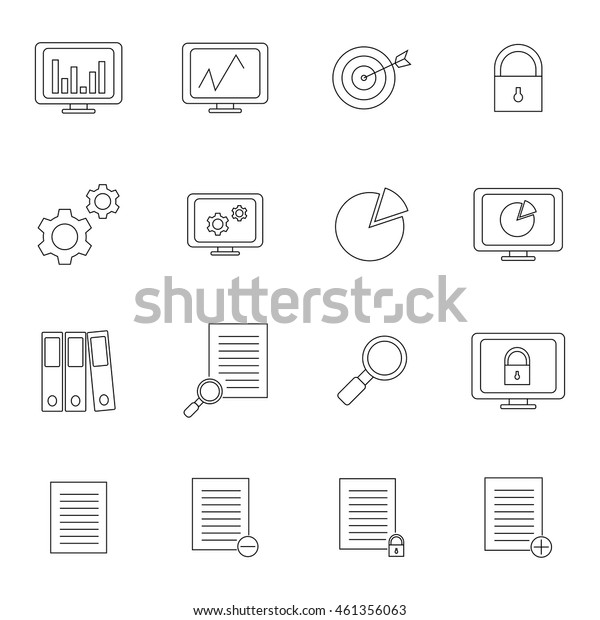 Marketing set outline icon illustration isolated vector sign symbol