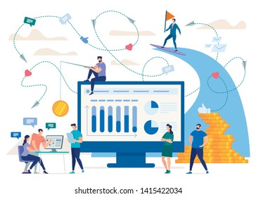 Marketing in Social Network, Phishing, Hidden Advertisement Online Flat Vector Concept. Infographics on Monitor, Entrepreneur Catching Clients with Coin on Rode, Team Working at Project Illustration