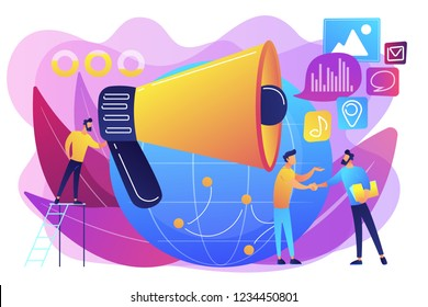 Marketing specialist with loudspeaker influence businessmen and globe. Macromarketing, social influence, global marketing strategy concept. Bright vibrant violet vector isolated illustration