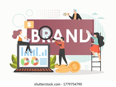 Marketing specialists male and female characters creating new company brand, improving brand awareness or recognition, vector flat illustration. Branding campaign, business marketing strategy.