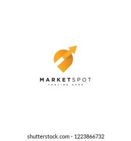 Marketing spot logo vector, market pined icon, marketing location logotype, pin with arrow icon