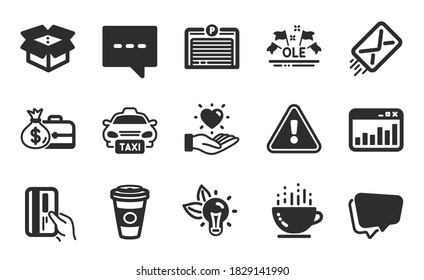 Marketing statistics, Hold heart and Taxi icons simple set. Open box, Payment card and Salary signs. Coffee cup, E-mail and Takeaway coffee symbols. Flat icons set. Vector