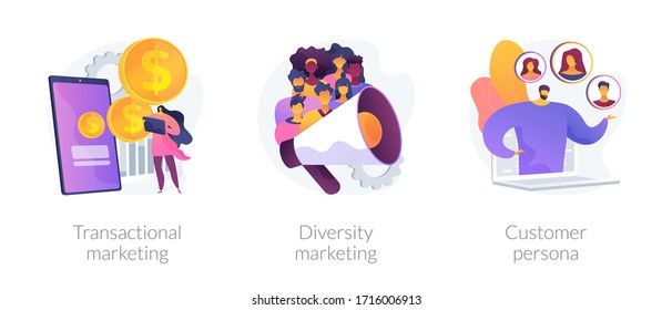 Marketing strategies abstract concept vector illustration set. Transactional and diversity marketing, customer persona, individual sales, customized advertising, target audience abstract metaphor.
