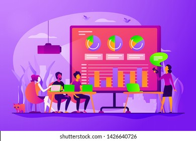 Marketing strategy, business analysis and analytical research. Digital presentation, office online meeting, visual data representation concept. Vector isolated concept creative illustration