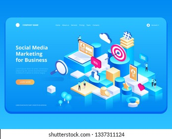 Marketing Strategy for Business. Landing page template for banner and website. Business analysis, content strategy and management concept. Modern flat design isometric vector illustration.