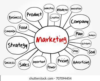 Product Concept Map.Marketing Strategy Core Objectives Product Mind Stock Vector