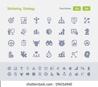 Marketing Strategy Icons. Granite Icon Series. Simple glyph stile icons optimized for two sizes.