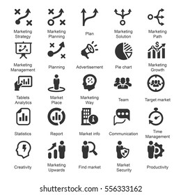 Marketing Strategy Icons - Gray Series (Set 1)
