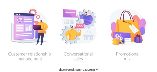 Marketing strategy icons set. Shop gifts and bonuses. Customer relationship management, conversational sales, promotional mix metaphors. Vector isolated concept metaphor illustrations