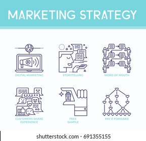 Marketing strategy illustration icons in business concept in modern line style