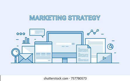 Marketing Strategy, Inbound marketing, Digital, Internet advertising campaign flat line vector banner with icons and elements
