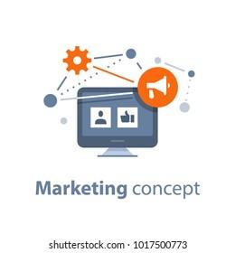 Marketing strategy, social media viral advertising, public relations, referral program, megaphone flat icon, vector illustration