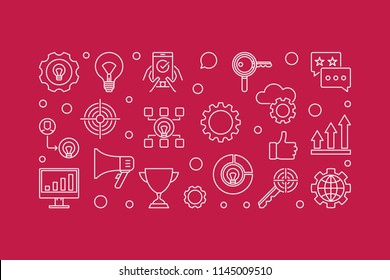 Marketing Strategy vector minimal horizontal banner or illustration in thin line style on red background
