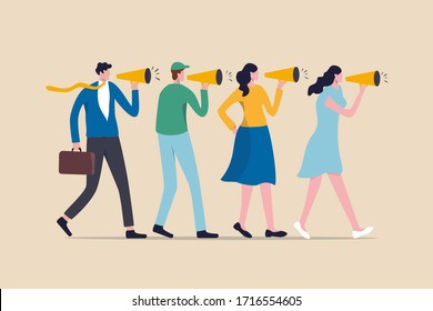 Marketing strategy, word of mouth people tell friend about good product and service, vebally tell story or communication concept, people using megaphone to tell story to their friends.