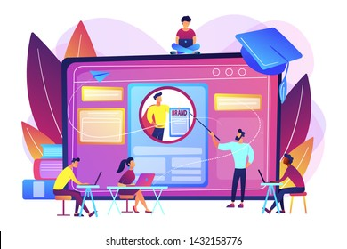 Marketing students create corporate identity. Personal branding course, strategic self-marketing education, personal branding online courses concept. Bright vibrant violet vector isolated illustration