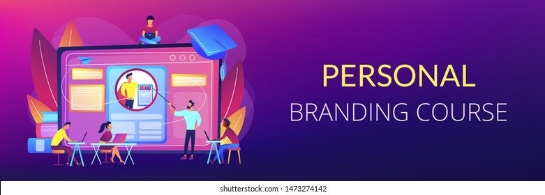 Marketing students create corporate identity. Personal branding course, strategic self-marketing education, personal branding online courses concept. Header or footer banner template with copy space.