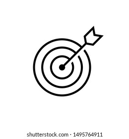 Marketing target Icon in flat style. Aim symbol isolated on white background. Abstract marketing icon in black Marketing target concept Vector illustration for graphic design, Web site, UI, mobile upp