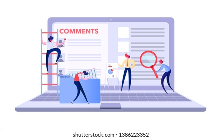 marketing team collects information from site users, marketers read reviews and suggestions on a laptop, Vector illustration for website or landing page.