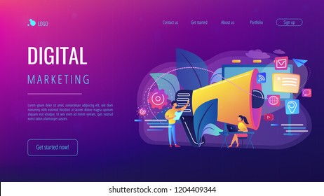 Marketing team work and huge megaphone with media icons. Marketing and branding, billboard and ad, marketing strategies concept on white background. Website vibrant violet landing web page template.