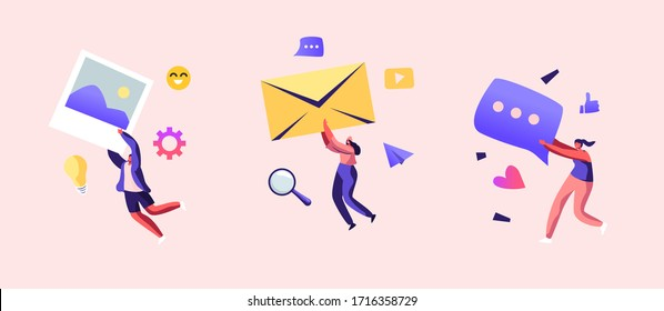 Marketing Team Work Set. Alert Advertising, Propaganda, Speech Bubbles and Social Media Icons. Public Relations and Affairs, Communication, Pr Agency Promotion. Cartoon People Vector Illustration