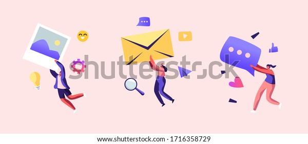 Marketing Team Work Set. Alert Advertising, Propaganda, Speech Bubbles and Social Media Icons. Public Relations and Affairs, Communication, Pr Agency Promotion. Cartoon People Vector Illustration