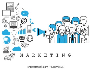 Marketing Team-On White Background-Vector Illustration,Graphic Design.