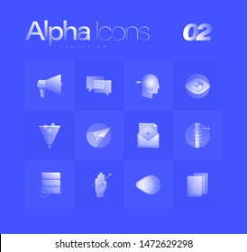 Marketing theme spot illustrations for branding, web design, presentation, logo, banners. Clean gradient icons set with thin lines and flat shapes. Pure transparency effect on blue color background.