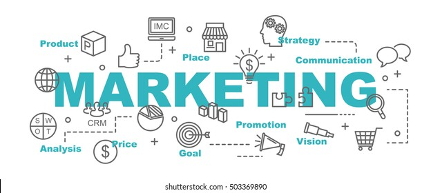 marketing vector banner design concept, flat style with thin line art business icons on white background